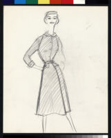 Cashin's illustrations of uniforms designed for American Airlines flight attendants. b078_f08-07
