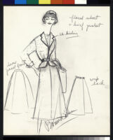 Cashin's illustrations of uniforms designed for American Airlines flight attendants. b078_f08-09