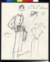 Cashin's illustrations of uniforms designed for American Airlines flight attendants. b078_f08-10
