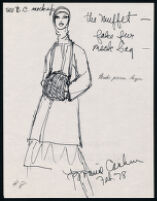 Notes, sketches, and brochure with line list of Cashin's handbag designs. b180_f07-13