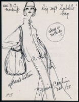 Notes, sketches, and brochure with line list of Cashin's handbag designs. b180_f07-10