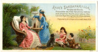 Ayer's Sarsaparilla Purifies the Blood, Stimulates the Vital Functions, restores and preserves Health, and infuses New Life and Vigor throughout the whole System. [inscribed]