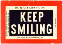 Keep smiling [inscribed]