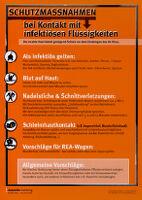 Schutzmassnahmen bei Kontakt mit infektiösen Flüssigkeiten [inscribed]