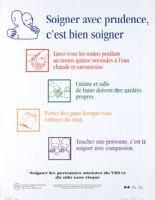 Soigner avec prudence, c'est bien soigner (next to a drawing ot two people hugging)