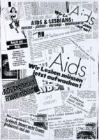 Montage of newspaper headlines and articles about lesbians and AIDS [descriptive]