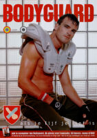 Poster of Bodyguard magazine cover with football player wearing protective gear [descriptive]