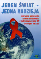 Red ribbon pinned on the Earth