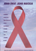 Red ribbon with sky background