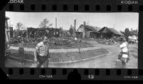 Burned out houses at Aeromexico Flight 498 crash site in Cerritos, Calif., 1986