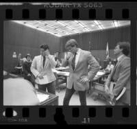Policemen Robert Rodriguez and William Lustig in court, Los Angeles, Calif., 1986
