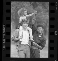Margaret Prescod with husband Sam Weinstein and daughter, 1986