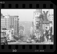 Buildings and traffic on Hollywood Blvd. near Bronson Street in Hollywood, Calif., 1986