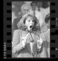 Kristin Leigh Harris reacts to being chosen 1987 Rose Queen, Pasadena, Calif.