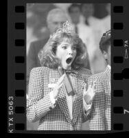 Kristin Leigh Harris reacts to being chosen 1987 Rose Queen, Pasadena, Calif.