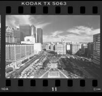Pershing Square and surrounding buildings, Los Angeles, Calif., 1986