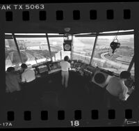 View of LAX runways from inside air traffic control tower, Calif., 1986