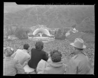 Looking down from the hillsides at the Hollywood Bowl Easter sunrise services, 1948