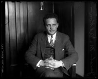 Rabbi Jacob M. Alkow sitting in chair with hands in lap, Los Angeles, Calif.,  circa 1930