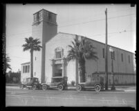 Exterior view of front and side portion of the Ethiopian Christian Fellowship Church, Los Angeles, circa 1927