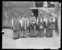 Five bishops from California and surrounding states standing in their vestments after Vesper service for Los Angeles' Sesquicentennial, 1931