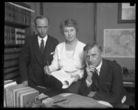 Thomas Barker of California State Labor Bureau, with Deputy State Labor Commissioner Mrs. M.M Lyon and Deputy Attorney General Erwin W. Widney, circa 1930
