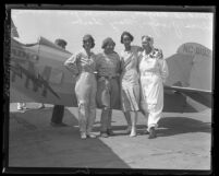 Pilot Florence Lowe Barnes with three other women pilots in Santa Monica, Calif., 1931