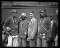 Eugene Biscailuz with group of Cochiti Indians at gathering of 'Nobles of the Mystic Shrine' in Los Angeles, Calif., 1925