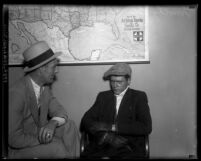 Attempted bank robber Timothy P. Blevins being questioned by police detective in Los Angeles, Calif., 1932
