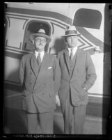 William E. Boeing and Fred Rentschler standing in front of an airplane, 1929