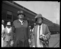 Prohibitionists Ella A. Boole and Anna A. Gordon standing at Los Angeles, Calif. train station in 1926