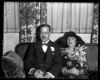 William Jennings Bryan Jr. son of orator sitting with his wife, Ellen on their wedding day in Los Angeles, Calif., 1929