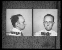 Copy of Arthur C. Burch's mugshots, frontal and profile, circa 1921