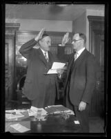 Los Angeles Judge Charles S. Burnell swearing in new judge Marshall F. McComb in 1927