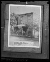 Copy of a photo of Alhambra, Calif.'s first store-post office, circa 1886