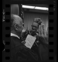 Ellen Cardiff, being sworn in as first female United States Marshal, Los Angeles, Calif., 1971
