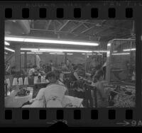 Garment workers in sweatshop, Los Angeles, Calif., circa 1971