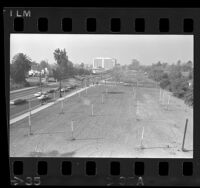 Undeveloped lots along Wilshire Blvd.'s Dead Mile in Los Angeles, Calif., 1971