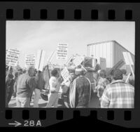 Teamster and longshoremen pickets blocking truck at Mexico-United States border in San Ysidro, Calif., 1972