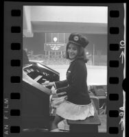 Donna Parker, official organist for the Los Angeles Dodgers playing organ during game in 1972