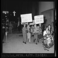 Children of Irish social club members picketing outside the British consulate in Los Angeles, 1972