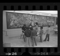 Chicano high school students painting mural at Thomas Jefferson Elementary School in Compton, Calif., 1972