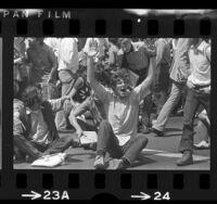 UCLA basketball player, Bill Walton in anti-war demonstration in Westwood, Calif., 1972