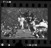 USC tailback Rod McNeill end zone action, scoring touchdown in game vs Oregon State, 1972