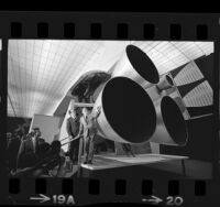 Senator Hubert H. Humphrey viewing mockup of space shuttle during visit to North American Rockwell plant in Downey, Calif., 1972