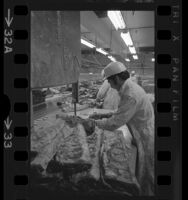 Meat cutters in meat packing plant in Los Angeles, Calif., 1972