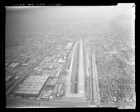 Aerial view of Hawthorne Municipal Airport and surrounding area, 1972