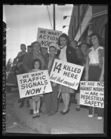 Group pickets Colorado St. and Lotus Ave. for traffic signals in Pasadena, Calif., 1946