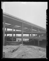 View of the newly completed four level interchange joining Arroyo Seco [Pasadena], Harbor, Hollywood and Santa Ana freeways, East Los Angeles, 1949
