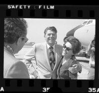 California Governor Ronald Reagan and Nancy Reagan at airport, 1972